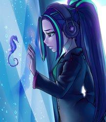 Size: 1777x2048   Tagged: safe, artist:rileyav, aria blaze, seahorse, equestria girls, aquarium, clothes, coat, female, headphones, pigtails, solo, water