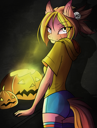 Size: 979x1293 | Tagged: :3, anthro, anthro oc, artist:imbrina, clothes, commission, digital art, ear fluff, earth pony, eye clipping through hair, female, halloween, holiday, looking at you, looking back, looking back at you, mare, oc, oc only, pumpkin, safe, shorts, skull, smiling, smirk, solo, ych result