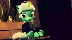 Size: 1920x1080 | Tagged: safe, artist:flushthebatsanta, lyra heartstrings, pony, unicorn, 3d, bench, clothes, dig the swell hoodie, drink, drinking, drinking straw, female, hoodie, magic, mare, sitting, solo, source filmmaker, straw, underhoof