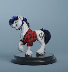 Size: 870x918 | Tagged: safe, artist:v747, oc, oc:scotch macmanus, pony, 3d, craft, draft horse, male, sculpture, sideburns, solo, stallion, turntable, unshorn fetlocks