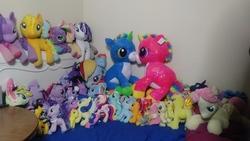 Size: 4160x2340 | Tagged: safe, artist:ponylover88, apple bloom, applejack, bon bon, fluttershy, octavia melody, pinkie pie, princess cadance, princess celestia, princess luna, rainbow dash, rarity, scootaloo, songbird serenade, spike, starlight glimmer, sweetie belle, sweetie drops, trixie, twilight sparkle, alicorn, unicorn, my little pony: the movie, bed, bedroom, butterscotch, collection, irl, photo, plushie, rule 63, twilight sparkle (alicorn)
