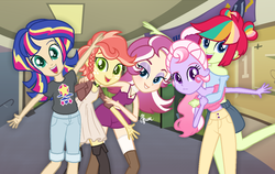 Size: 1218x771 | Tagged: artist:polymercorgi, base used, canterlot high, equestria girls, magical lesbian spawn, oc, oc only, oc:pompom rush, oc:sunrise flicker, offspring, parent:applejack, parent:baton switch, parent:fluttershy, parent:pinkie pie, parent:rainbow dash, parent:rarity, parents:appleshy, parent:sci-twi, parents:scitwishimmer, parent:sugarcoat, parent:sunset shimmer, parent:vignette valencia, safe