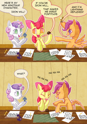 Size: 840x1200 | Tagged: apple bloom, artist:curiousglaistig, ask, ask pun, cutie mark crusaders, figurine, iron will, laughing, pony, safe, scootaloo, sweetie belle