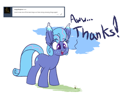 Size: 1280x999 | Tagged: artist:heir-of-rick, ask, dialogue, ear fluff, earth pony, female, freckles, giant pony, impossibly large ears, macro, mare, oc, oc:sapphire lollipop, pony, safe, simple background, tumblr, white background