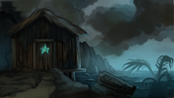 Size: 1920x1080 | Tagged: artist:jedayskayvoker, background, cliff, cloud, cloudy, fallout equestria, fallout equestria: red 36, fanfic art, no pony, ocean, paint, post-apocalyptic, safe, scenery, starlight bay, stars, wave, wood