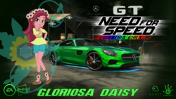 Size: 1364x768 | Tagged: artist:nfs2015, car, equestria girls, gloriosa daisy, hasbro logo, mercedes-amg gt, mercedes-benz, need for speed, need for speed: most wanted, safe, solo, wallpaper