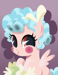 Size: 5485x7114 | Tagged: safe, artist:jhayarr23, cozy glow, pegasus, pony, school raze, absurd resolution, blush sticker, blushing, bow, cozybetes, cute, female, filly, flower, foal, hair bow, lineless, looking at you, purple background, simple background, solo, starry eyes, vector, wingding eyes