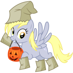 Size: 3000x3000 | Tagged: safe, artist:cheezedoodle96, derpy hooves, pegasus, pony, luna eclipsed, .svg available, clothes, costume, female, flying, halloween, halloween costume, holiday, looking at you, mare, mouth hold, nightmare night costume, paper bag, paper bag wizard, pumpkin bucket, simple background, smiling, svg, transparent background, vector, waving