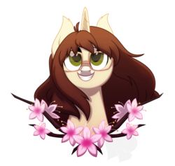 Size: 926x876 | Tagged: artist:faith-wolff, branches, brown hair, bust, cherry blossoms, female, flower, flower blossom, glasses, green eyes, hazel eyes, long hair, looking up, mare, oc, oc:sinamuna, pony, safe, simple background, smiling, solo, teeth, transparent background, unicorn