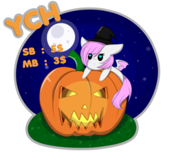 Size: 4049x3607 | Tagged: safe, artist:mimihappy99, oc, oc only, bat pony, pony, advertisement, auction, chibi, commission, female, halloween, hat, heart eyes, holiday, jack-o-lantern, mare, moon, night, pumpkin, simple background, solo, transparent background, wingding eyes, witch hat, your character here