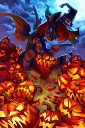 Size: 1181x1771 | Tagged: safe, artist:holivi, oc, oc only, oc:spiral night, bat pony, pegasus, pony, bat pony oc, commission, female, halloween, hat, holiday, jack-o-lantern, knife, mare, moon, pumpkin, pumpkin carving, solo, tongue out, witch, witch hat