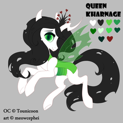 Size: 3000x3000 | Tagged: safe, artist:meowcephei, derpibooru exclusive, oc, oc:queen kharnage, changeling, changeling queen, albino changeling, changeling oc, changeling queen oc, double colored changeling, female, green changeling, looking at you, reference sheet, smiling, solo, white changeling, white chitin