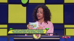 Size: 1600x900 | Tagged: safe, spike, twilight sparkle, human, double dare, game show, implied spike, implied twilight sparkle, irl, irl human, liza koshy, nickelodeon, photo, pony reference