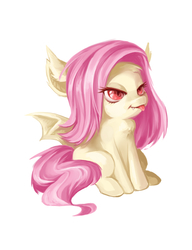 Size: 1000x1300 | Tagged: safe, artist:bluecrow, fluttershy, bat pony, pony, cute, female, flutterbat, race swap, shyabetes, simple background, solo, tongue out, white background