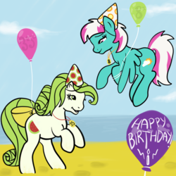 Size: 2100x2100 | Tagged: 35th anniversary, artist:lannielona, background pony, balloon, beach, birthday, bow, derpibooru exclusive, female, g1, g1 style, g4 style, happy birthday, happy birthday mlp:fim, hat, mare, party hat, pony, safe, sand, scrumptious, spring step, sunlight spring, tail bow