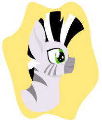 Size: 3000x3534 | Tagged: abstract background, alternate version, artist:alltimemine, bust, fallout equestria, fanfic, fanfic art, female, inkscape, lineless, mare, oc, oc only, oc:xenith, portrait, profile, safe, simple background, smiling, solo, transparent background, vector, zebra