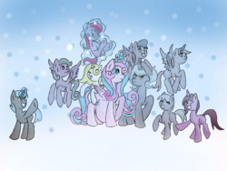 Size: 1200x900   Tagged: safe, artist:bunnyviolet218, princess flurry heart, oc, oc:shimmering glow, alicorn, earth pony, pegasus, pony, unicorn, adult, alicorn oc, canon x oc, children, colt, couple, family, family photo, female, filly, flurryglow, flying, foal, husband and wife, magic, magic aura, male, mama flurry, married couple, multiple pregnancy, octuplets, offspring, offspring shipping, offspring's offspring, older, older flurry heart, parent:king sombra, parent:oc:shimmering glow, parent:princess flurry heart, parent:radiant hope, parents:canon x oc, parents:hopebra, pregnant, shipping, snow, snowfall, straight