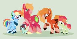 Size: 1196x604 | Tagged: safe, artist:everythingf4ngirl, big macintosh, rainbow dash, oc, oc:crimson breeze, oc:sunrise flash, oc:velvet crisp, earth pony, pegasus, pony, alternate design, baby, baby pony, base used, coat markings, colt, female, filly, green background, male, offspring, parent:big macintosh, parent:rainbow dash, parents:rainbowmac, rainbowmac, redesign, shipping, simple background, stallion, straight, unshorn fetlocks
