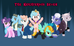 Size: 2656x1650   Tagged: safe, artist:andoanimalia, cozy glow, gladmane, lightning dust, suri polomare, svengallop, wind rider, zesty gourmand, earth pony, pegasus, pony, unicorn, antagonist, clothes, evil, evil grin, female, filly, grin, looking at you, male, mare, pun, smiling, stallion, text, the neighferious seven, uniform, washouts uniform