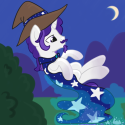 Size: 2100x2100 | Tagged: artist:lannielona, beard, broken glass, bush, cape, clothes, crescent moon, facial hair, gradient hooves, hat, levitation, magic, male, moon, moustache, night, oc, oc only, oc:starshade, pony, safe, solo, stallion, telekinesis, unicorn, wizard, wizard hat, wizard robe, ych result