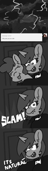 Size: 800x2800 | Tagged: artist:threetwotwo32232, black and white, castle, comic, dialogue, dracula, earth pony, female, grayscale, lightning, mare, monochrome, oc, oc:fizzy pop, oc only, oc:wafflecakes, safe, text, tumblr, unicorn, vampire