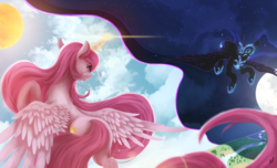 Size: 7400x4501 | Tagged: safe, artist:fluttersheeeee, nightmare moon, princess celestia, alicorn, pony, absurd resolution, cloud, duality, duo, female, fight, flying, mare, moon, night, night sky, pink-mane celestia, royal sisters, sisters, sky, stars, sun