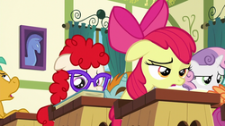 Size: 1280x720 | Tagged: apple bloom, colt, desk, glasses, male, pony, safe, scootaloo, screencap, snails, snips, sweetie belle, the cart before the ponies, twist, unicorn