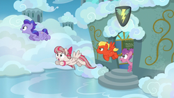 Size: 1280x720 | Tagged: angel wings, background pony, classroom, cloud, female, flying, hyacinth dawn, loosey-goosey, male, mare, pegasus, pony, safe, screencap, short fuse, stallion, top bolt, wonderbolts headquarters