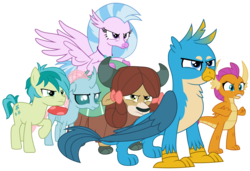 Size: 2933x2010 | Tagged: safe, artist:sonofaskywalker, gallus, ocellus, sandbar, silverstream, smolder, yona, changedling, changeling, classical hippogriff, dragon, earth pony, griffon, hippogriff, pony, yak, school raze, angry, bow, claws, cloven hooves, colored hooves, cutie mark, dragoness, female, fierce, fist, full body, hair bow, jewelry, male, monkey swings, necklace, paws, simple background, student six, teenager, transparent background, vector, wings
