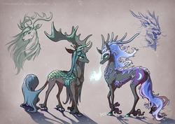 Size: 1753x1240 | Tagged: safe, artist:begasus, nightmare moon, queen chrysalis, deer, elk, kirin, longma, moose, antlers, chrysmoon, cloven hooves, female, fire, fire breath, horns, kirin chrysalis, kirin-ified, lesbian, longma nightmare moon, longmafied, mare, realistic anatomy, shipping, simple background, species swap, unshorn fetlocks