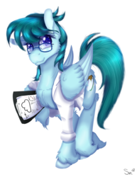 Size: 1080x1400 | Tagged: artist:sintakhra, clipboard, clothes, cloud, female, fluffy, glasses, lab coat, mare, oc, oc:cloudy bits, oc only, pegasus, pony, raffle prize, request, requested art, safe, scientist, simple background, solo, transparent background, unshorn fetlocks