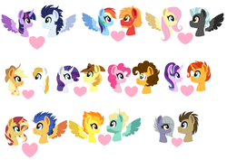 Size: 1288x914 | Tagged: safe, artist:xxwerecatdipperxx, applejack, big macintosh, braeburn, cheese sandwich, doctor whooves, flash sentry, fluttershy, limestone pie, pinkie pie, prince blueblood, rainbow dash, rarity, soarin', spitfire, starlight glimmer, sunburst, sunset shimmer, thunderlane, time turner, twilight sparkle, zephyr breeze, alicorn, earth pony, pegasus, pony, unicorn, beard, bluejack, bust, cheesepie, cowboy hat, doctorlime, facial hair, female, flashimmer, glasses, hat, heart, horn, lineless, male, mare, portrait, profile, rainbowmac, rariburn, shipping, simple background, soarlight, spread wings, stallion, starburst, straight, thundershy, twilight sparkle (alicorn), white background, wings, zephyrfire