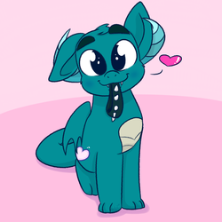 Size: 2000x2000 | Tagged: artist:binkyt11, choker, derpibooru exclusive, dracony, dragon, heart, horns, hybrid, looking at you, male, mouth hold, oc, oc only, oc:puppy love, original species, puppy dog eyes, safe, sitting, smiling, solo, spiked choker, teenaged dragon, wings