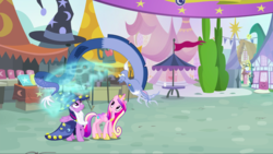 Size: 1440x811 | Tagged: alicorn, blue flu, discord, draconequus, fake beard, female, hat, health bubble, limbless, male, mare, pony, princess cadance, safe, screencap, star swirl the bearded costume, three's a crowd, trio, twilight sparkle, twilight sparkle (alicorn), wizard hat