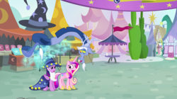 Size: 1440x809 | Tagged: alicorn, blue flu, discord, draconequus, fake beard, female, hat, health bubble, limbless, male, mare, pony, princess cadance, safe, screencap, star swirl the bearded costume, three's a crowd, trio, twilight sparkle, twilight sparkle (alicorn), wizard hat