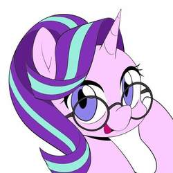 Size: 720x720 | Tagged: safe, artist:caibaoreturn, starlight glimmer, pony, unicorn, cute, female, glasses, looking at you, mare, open mouth, simple background, solo, white background