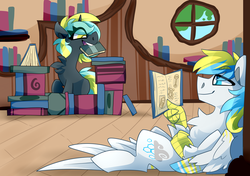 Size: 3400x2400 | Tagged: artist:nekosnicker, baby bottle, book, book fort, chest fluff, cirrent, cute, female, hippogriff, library, lidded eyes, male, oc, oc:cirrus sky, oc:electro current, oc x oc, on back, pony, rattle, reading, safe, scrunchy face, shipping, smiling, straight, tail feathers, teddy bear, unicorn