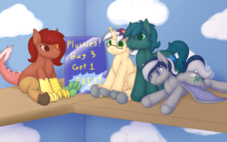 Size: 4043x2541 | Tagged: safe, artist:daf, discord, oc, oc:daturea eventide, oc:mercury shine, oc:penny, oc:poison trail, bat pony, draconequus, original species, plush pony, pony, bat pony oc, eris, female, implied transformation, male, mare, plushie, rule 63, stallion