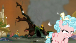 Size: 1450x811 | Tagged: safe, edit, edited screencap, screencap, cozy glow, pegasus, pony, twilight's kingdom, adorabolical, alternate universe, bow, cozybetes, cute, disaster girl, evil, evil grin, female, fence, filly, fire, flower, foal, golden oaks library, grin, hair bow, implied death, moral event horizon, paper, pure concentrated unfiltered evil of the utmost potency, pure evil, pure unfiltered evil, smiling, solo, tail bow