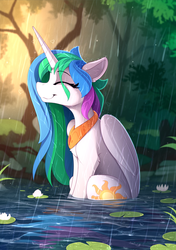 Size: 1615x2300 | Tagged: alicorn, artist:yakovlev-vad, basking in the rain, chest fluff, cute, cutelestia, ear fluff, eyelashes, eyes closed, female, forest, happy, heart, horn, lilypad, mare, missing accessory, outdoors, peytral, pond, pony, princess celestia, rain, safe, sitting, smiling, solo, water, water lily, wet, wet mane, wings