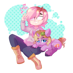 Size: 3500x3500 | Tagged: safe, artist:rizzych, oc, oc only, oc:dungeon toaster, human, pony, unicorn, curved horn, ear fluff, glasses, heart, hooves, horn, ponified, ponysona, simple background