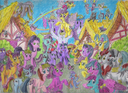 Size: 2338x1700 | Tagged: safe, artist:edhelistar, derpibooru exclusive, autumn blaze, bowtie (g1), cheerilee (g3), derpy hooves, firefly, gallus, kevin (changeling), kimono, lyra heartstrings, master kenbroath gilspotten heathspike, megan williams, minty, ocellus, patch (g1), pinkie pie, pinkie pie (g3), posey, princess skystar, rainbow dash (g3), rosedust, seabreeze, skydancer, starlight (g1), starlight glimmer, sundance, sunset shimmer, surprise, tiddlywink, toola roola, tra-la-la, twilight sparkle, wishful, wysteria, zecora, zipzee, alicorn, breezie, bushwoolie, changedling, changeling, classical hippogriff, dragon, earth pony, flutter pony, griffon, hippogriff, kirin, parasprite, pegasus, pony, unicorn, zebra, equestria girls, g1, g2, g3, g3.5, g4, my little pony: the movie, sounds of silence, 35 years 35 characters, 35th anniversary, balloon, book, bow, clothes, ear piercing, earring, female, floating, g1 to equestria girls, g1 to g4, g3 to g4, g3.5 to g4, generation leap, group photo, hair bow, humans riding ponies, i just don't know what went wrong, jewelry, lyra doing lyra things, male, mare, neck rings, piercing, pinkie being pinkie, pinkie physics, pony ride, ponyville, princess wysteria, queen rosedust, rainbow trail, riding, socks, speed trail, striped socks, tail bow, that pony sure does love socks, then watch her balloons lift her up to the sky, toy, traditional art, twilight sparkle (alicorn), twilight's castle, wall of tags