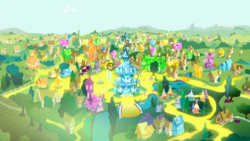 Size: 1440x810 | Tagged: safe, screencap, inspiration manifestation, crystal, gold, golden road, no pony, ponyville, ponyville schoolhouse, ponyville town hall, river, scenery, town, transformed