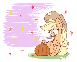 Size: 2100x1700 | Tagged: safe, artist:heir-of-rick, applejack, earth pony, pony, abstract background, autumn, autumn leaves, cowboy hat, cute, falling leaves, female, freckles, halloween, hat, jackabetes, knife, leaves, mare, mouth hold, pumpkin, pumpkin carving, sitting, smiling, solo