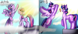 Size: 3330x1458 | Tagged: 2016, 2018, alicorn, artist:juliamity, cloud, comparison, crepuscular rays, draw this again, exclamation point, flying, raised hoof, redraw, safe, self ponidox, signature, sky, twilight sparkle, twilight sparkle (alicorn), unicorn, unicorn twilight