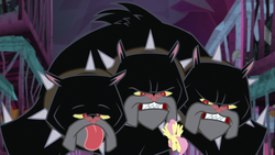 Size: 1280x720 | Tagged: safe, screencap, cerberus (character), fluttershy, cerberus, dog, pegasus, pony, school raze, collar, dog collar, female, flying, mare, multiple heads, spiked collar, tartarus, three heads, tongue out