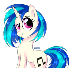 Size: 3260x3110 | Tagged: artist:alina-brony29, dj pon-3, female, mare, pony, raised eyebrow, safe, signature, simple background, solo, transparent background, unicorn, vinyl scratch