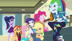 Size: 1920x1080   Tagged: safe, screencap, applejack, fluttershy, pinkie pie, rainbow dash, rarity, sci-twi, sunset shimmer, twilight sparkle, equestria girls, equestria girls series, overpowered (equestria girls), belt, clothes, converse, cowboy hat, crossed legs, denim skirt, dress, faic, female, freckles, geode of empathy, geode of fauna, geode of shielding, geode of super speed, geode of super strength, geode of telekinesis, glasses, hat, humane five, humane seven, humane six, jacket, leather, leather jacket, magical geodes, ponytail, shoes, skirt, stetson