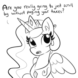 Size: 1280x1280 | Tagged: safe, artist:tjpones, princess celestia, alicorn, pony, black and white, bust, communism in the comments, crown, cute, cutelestia, dialogue, ear fluff, extortion, female, frown, grayscale, horse taxes, jewelry, lidded eyes, lineart, looking at you, looking up, mare, monochrome, peytral, portrait, raised hoof, regalia, sad, silliness in the comments, simple background, sitting, solo, spread wings, talking to viewer, taxes, text, that pony sure does love taxes, white background, wings