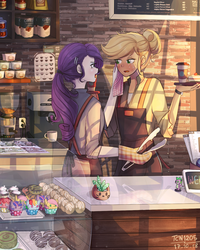 Size: 1200x1500 | Tagged: anime, applejack, apron, artist:tcn1205, barista, blushing, cafe, cake, clothes, coffee, coffee machine, coffee mug, coffee shop, cupcake, cute, display case, donut, ear piercing, earring, equestria girls, eyeshadow, female, fluttershy, food, freckles, hair bun, hairpin, hair tie, handkerchief, human, humanized, jackabetes, jewelry, lesbian, looking at each other, makeup, mug, open mouth, oven mitts, piercing, pinkie pie, pony coloring, ponytail, rainbow dash, raribetes, rarijack, rarity, safe, serving tray, shelf, shipping, shirt, spike, standing, strawberry, sweat, tongs, twilight sparkle, uniform, watch, wristwatch